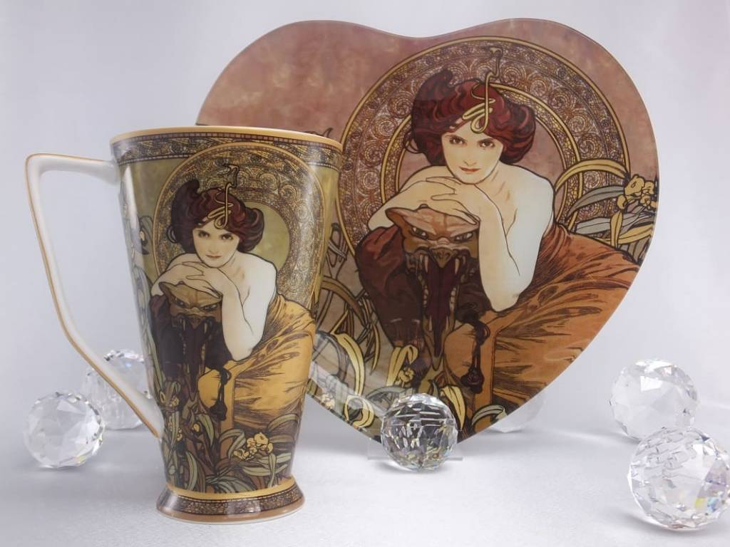 CARMANI - 1990 Alfons Mucha - The Precious Stones - Emerald - XXL Coffee Mug