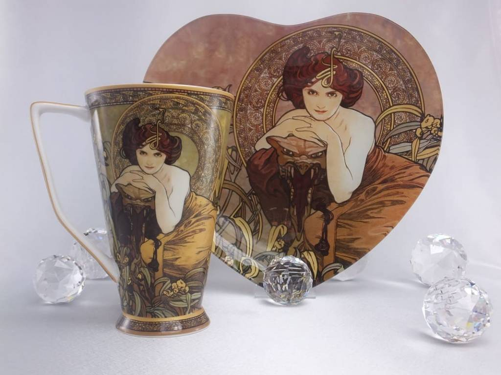 CARMANI - 1990 Alfons Mucha - Saragd - Heart shaped decoration plate