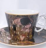 CARMANI - 1990 Gustav Klimt - - Der Kuss -  Nero-Kaffeetasse  mit Untertasse
