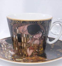 CARMANI - 1990 Gustav Klimt - Kaffeetasse  Set -  Der Kuss- Nero