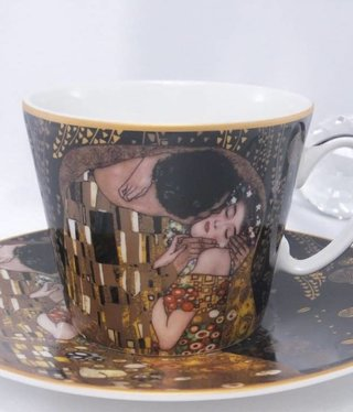 CARMANI - 1990 Gustav Klimt - Coffee Cup Set - The Kiss Nero