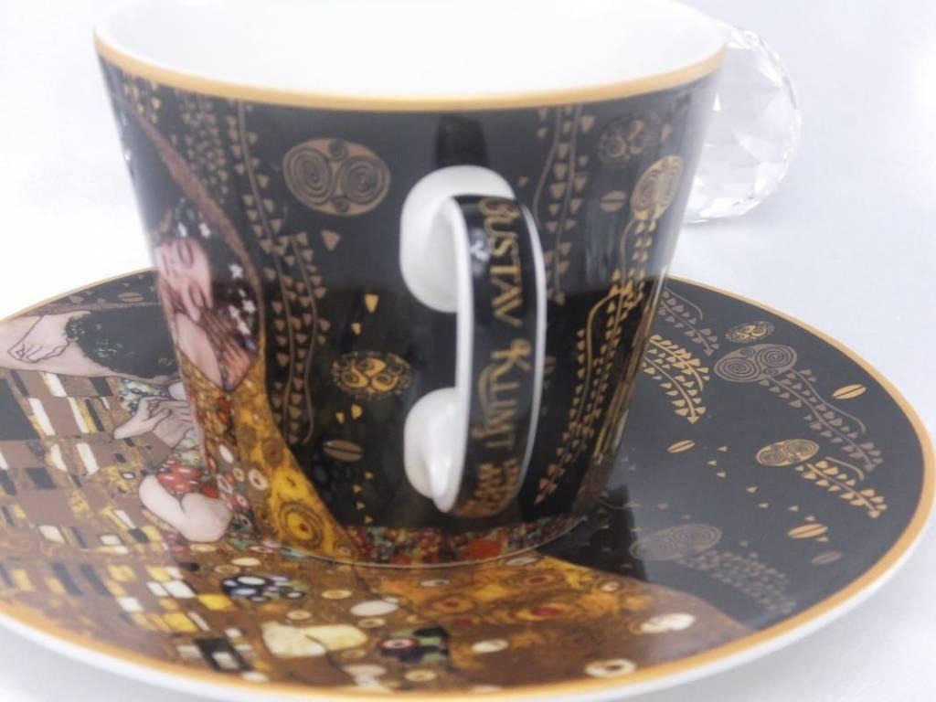 CARMANI - 1990 Gustav Klimt - Kaffeetasse  mit Untertasse - Der Kuss -  Nero