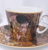 CARMANI - 1990 Gustav Klimt  - Der Kuss -  Braun Kaffeetasse  mit Untertasse