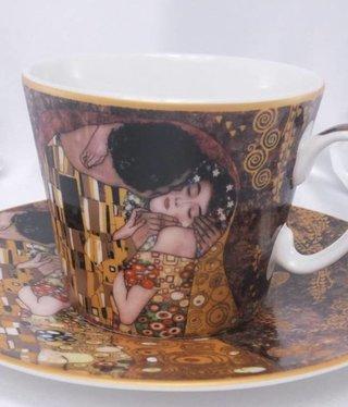 CARMANI - 1990 Gustav Klimt - Kaffeetasse  Set -  Der Kuss- Braun