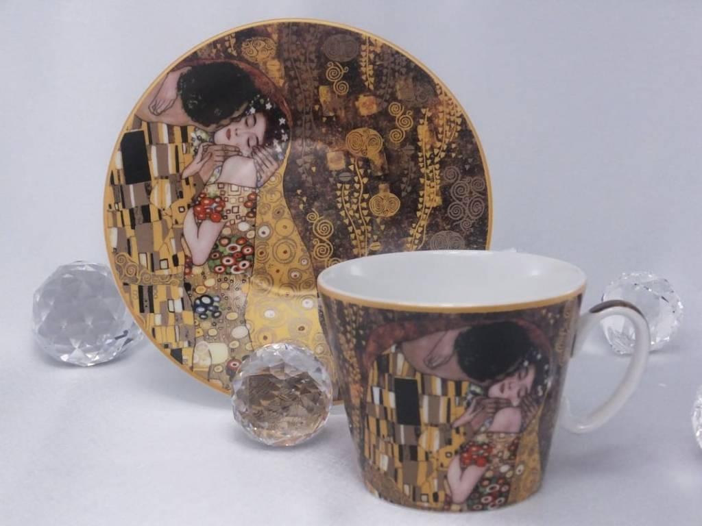 CARMANI - 1990 Gustav Klimt - Coffee Cup with Saucer - The Kiss - Brown