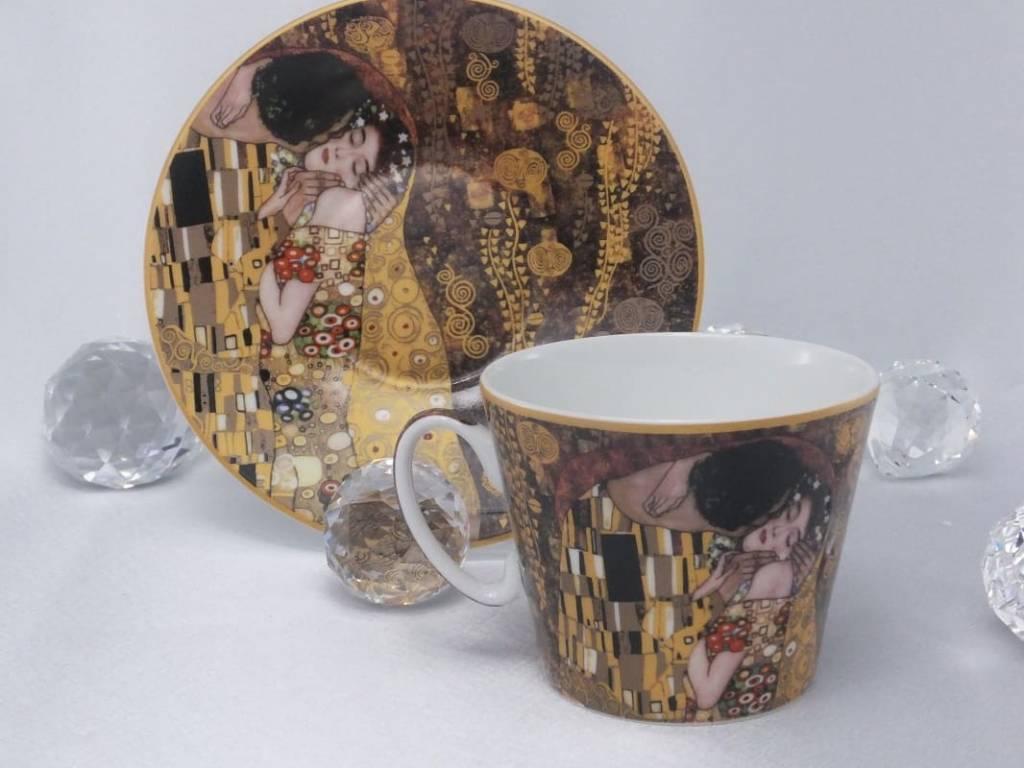 CARMANI - 1990 Gustav Klimt - Kaffeetasse  mit Untertasse - Der Kuss -  Braun