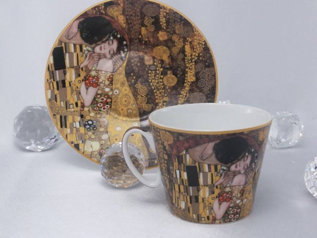 CARMANI - 1990 Gustav Klimt - The Kiss - Brown coffee cup with saucer