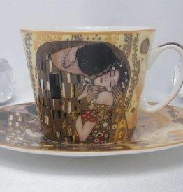 CARMANI - 1990 Gustav Klimt - Kaffeetasse  Set -  Der Kuss- hell