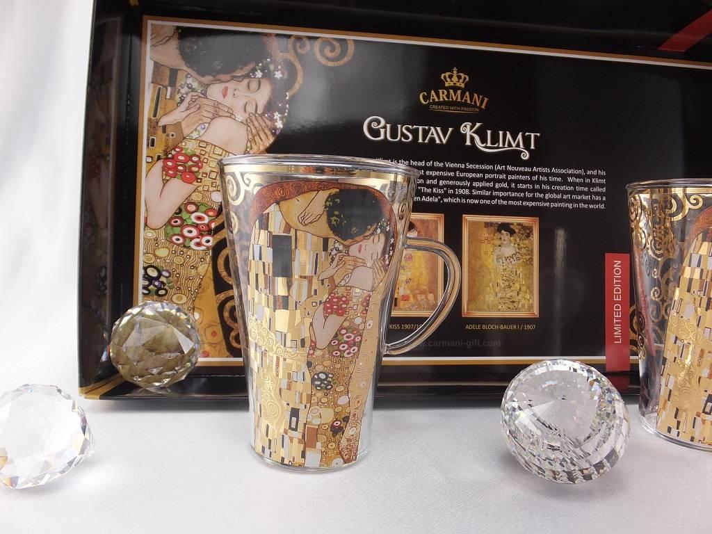 CARMANI - 1990 Gustav Klimt - The Kiss - Latte Macchiato glasses