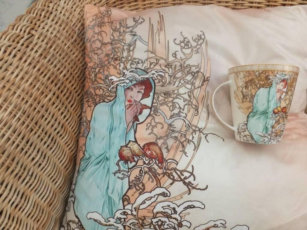 CARMANI - 1990 Alfons Mucha Pillow - The Four Seasons - Winter