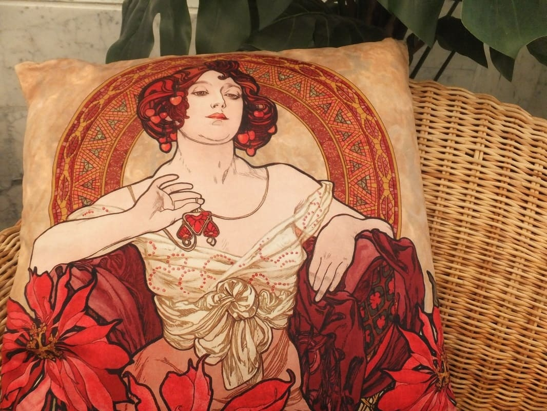 5e8dfbdd8a0 ... CARMANI - 1990 Alfons Mucha - Precious Stones - Ruby - Pillow ...