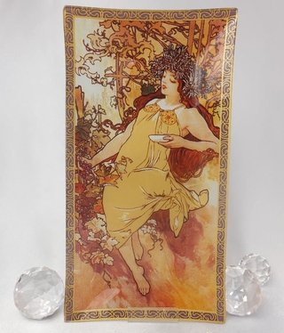 CARMANI - 1990 Alfons Mucha - Glass Plate - Autumn