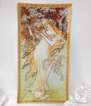 CARMANI - 1990 Alfons Mucha - glass plate - spring