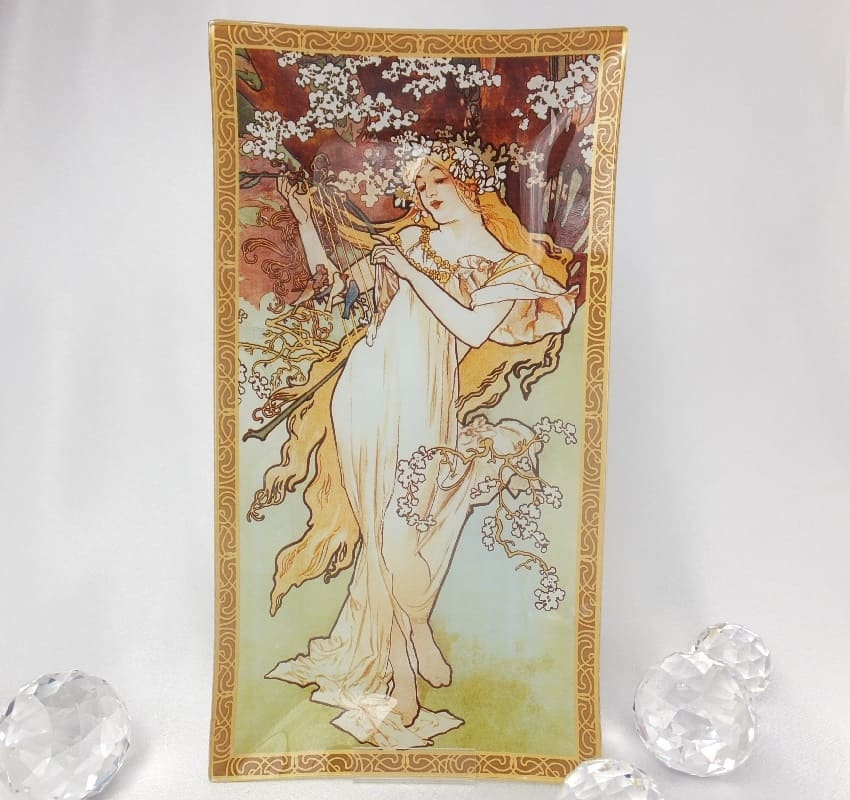 CARMANI - 1990 Alfons Mucha - Glass Plate - The Four Seasons - Spring