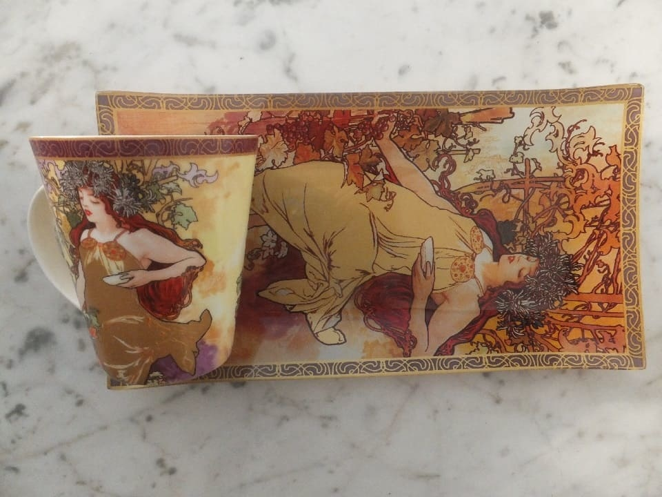 CARMANI - 1990 Alfons Mucha Pillow - The Four Seasons - Autumn