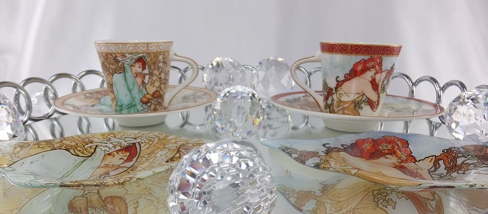 Alfons Mucha - The Four Seasons & The Precious Stones on coffee cup and glass plates