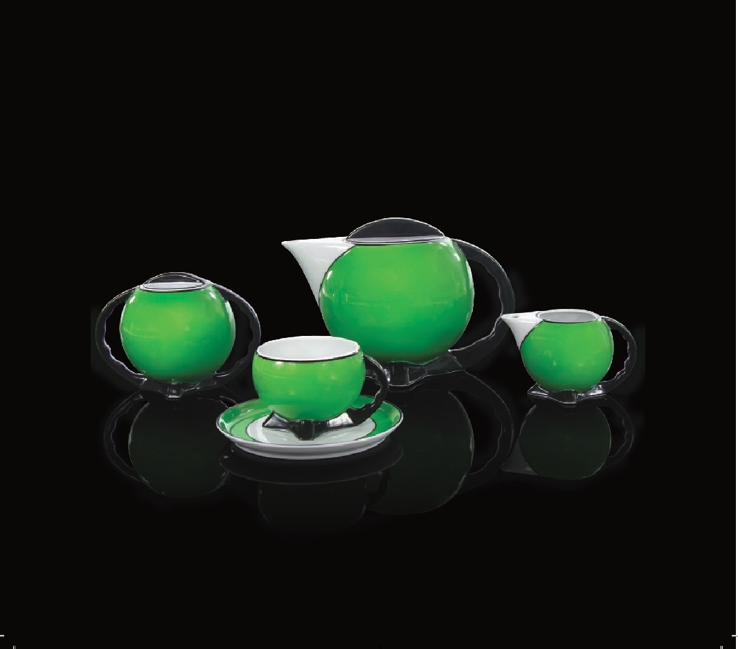 Cmielow - 1790 Glamor X - Tea set for 6 persons in green with gold decoration