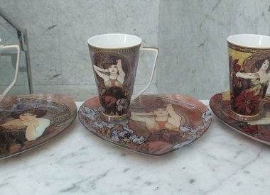 Alfons Mucha - Coffee Cups & Glass Trays
