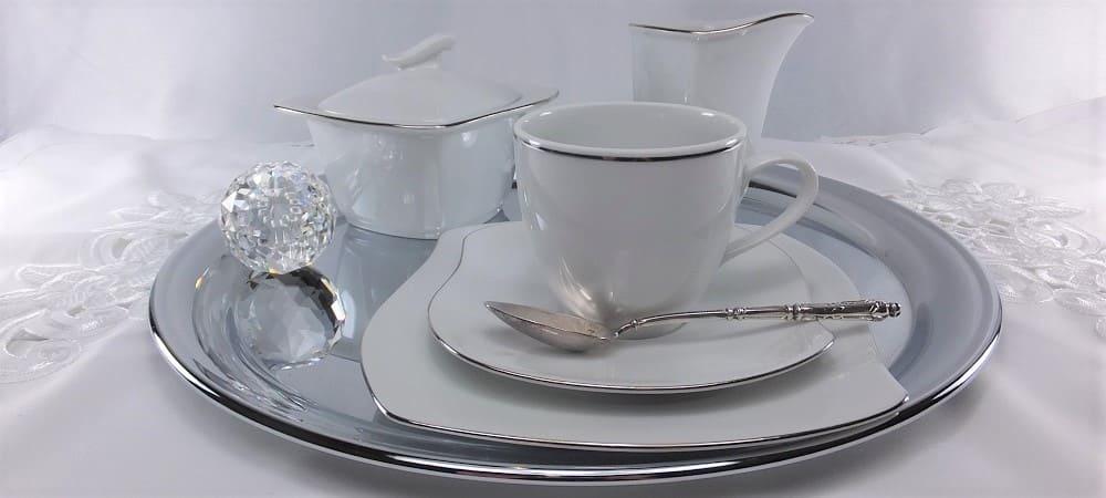 Marie Christine - elegantes Porzellan mit Platinrand.  Für Büros & Firmen.