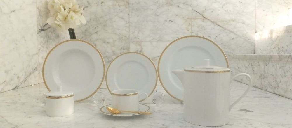 Marie - Jeanne - exclusive porcelain collection with handmade gold rim