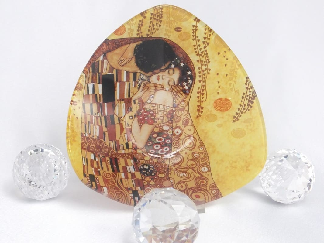 CARMANI - 1990 Gustav Klimt The kiss bright glass bowl angular