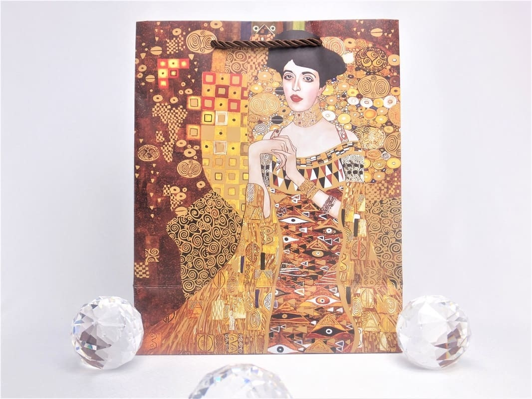 CARMANI - 1990 Gustav Klimt - Der Kuss  / Adele - Geschenktasche S in Braun