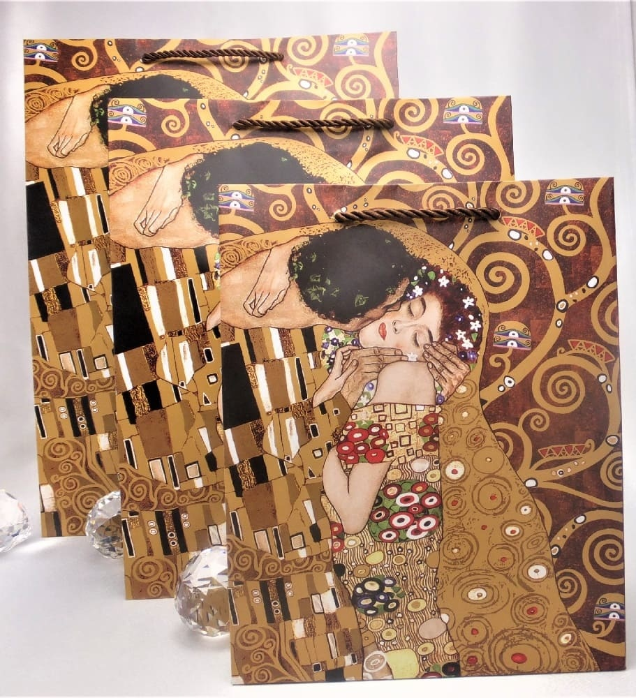 CARMANI - 1990 Gustav Klimt - The Kiss / Adele - Gift bag S in brown