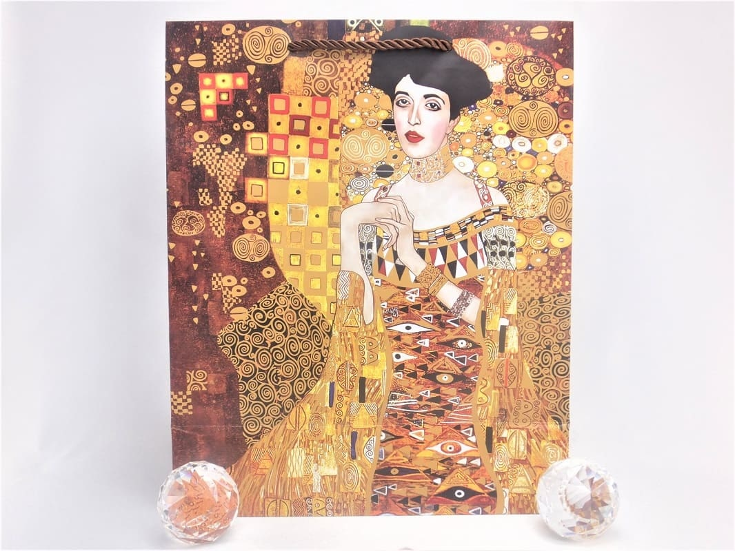 CARMANI - 1990 Gustav Klimt - The Kiss / Adele - Gift bag M in brown