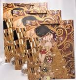 CARMANI - 1990 Gustav Klimt - Der Kuss / Adele - Geschenktasche M in Braun