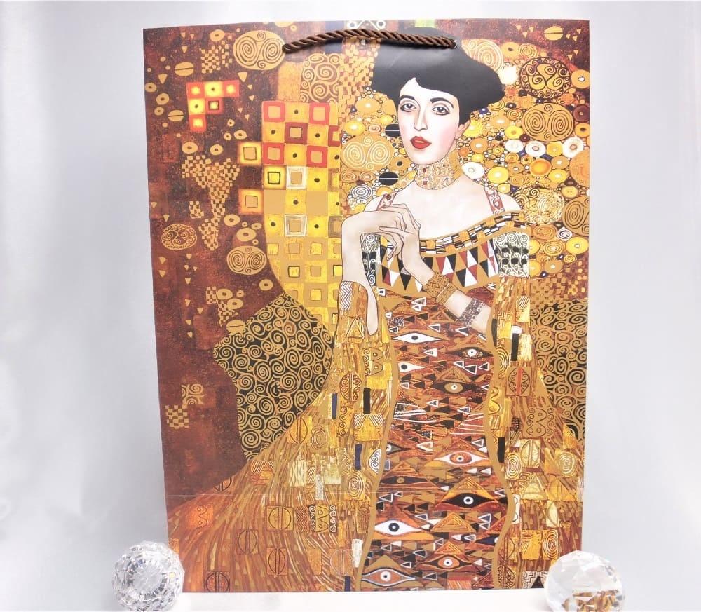 CARMANI - 1990 Gustav Klimt - Adele / Der Kuss - Geschenktasche XL in Braun