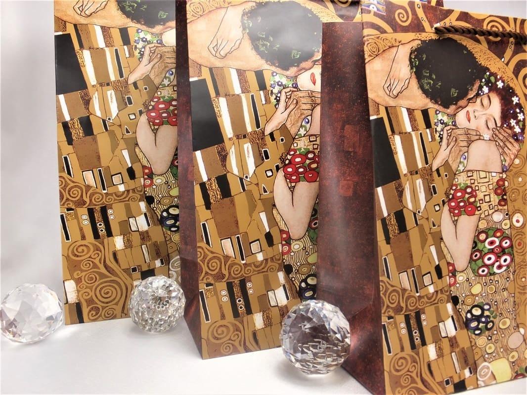 CARMANI - 1990 Gustav Klimt - Adele / The Kiss - Gift bag XL in brown