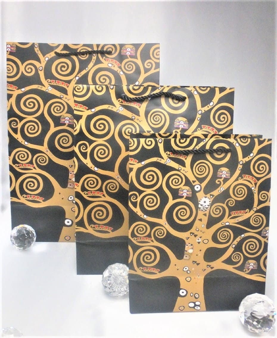 CARMANI - 1990 Gustav Klimt - Lebensbaum - Geschenktasche M in Nero