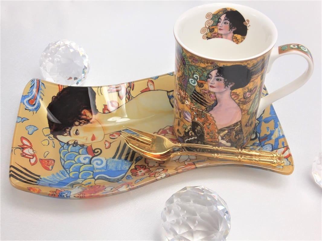 CARMANI - 1990 Gustav Klimt - Glass plate -S shape - The lady with the fan 23 x 15 cm