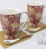 The Morris - stylish porcelain cups in gift box - red