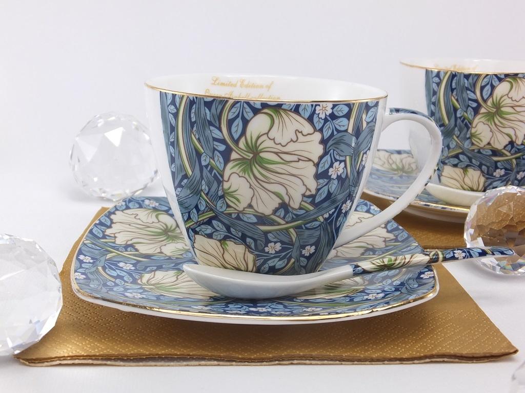 The Morris - Cappuccino Tassen in Blau -dekorative Twin Tassen aus Porzellan