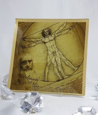 CARMANI - 1990 Leonardo da Vinci - glass plate 13 x 13 cm - Vitruvmann