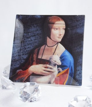 CARMANI - 1990 Leonardo da Vinci - glass plate - lady with the ermine