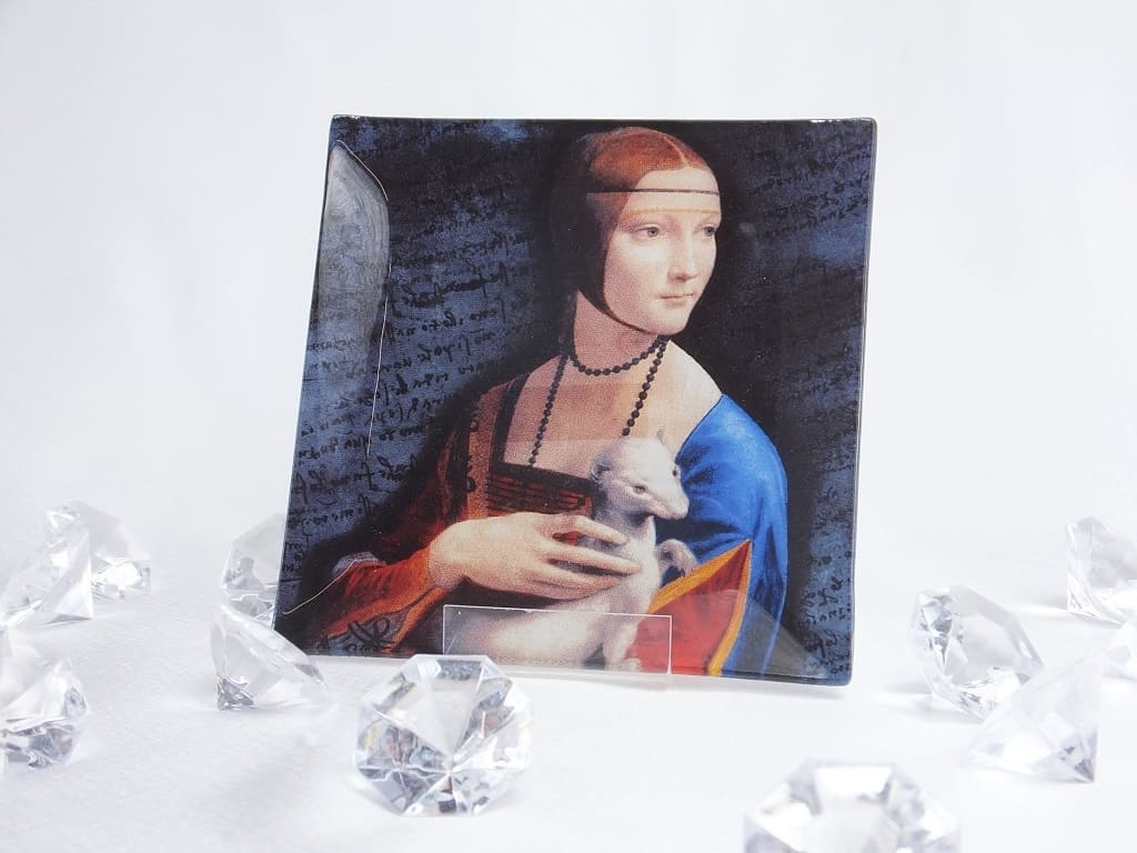 CARMANI - 1990 Leonardo da Viinci -   Glasteller mit dem Motiv  - Dame mit dem Hermelin