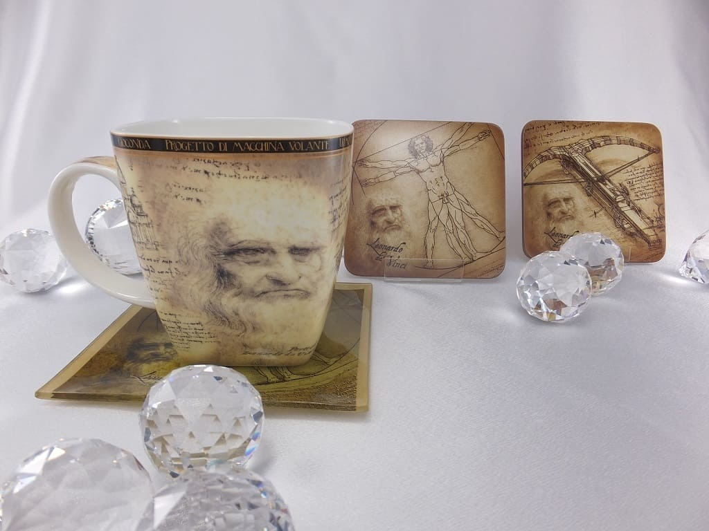CARMANI - 1990 Leonardo da Vinci - Vitruvmann Porzellantasse  in Fine bone China