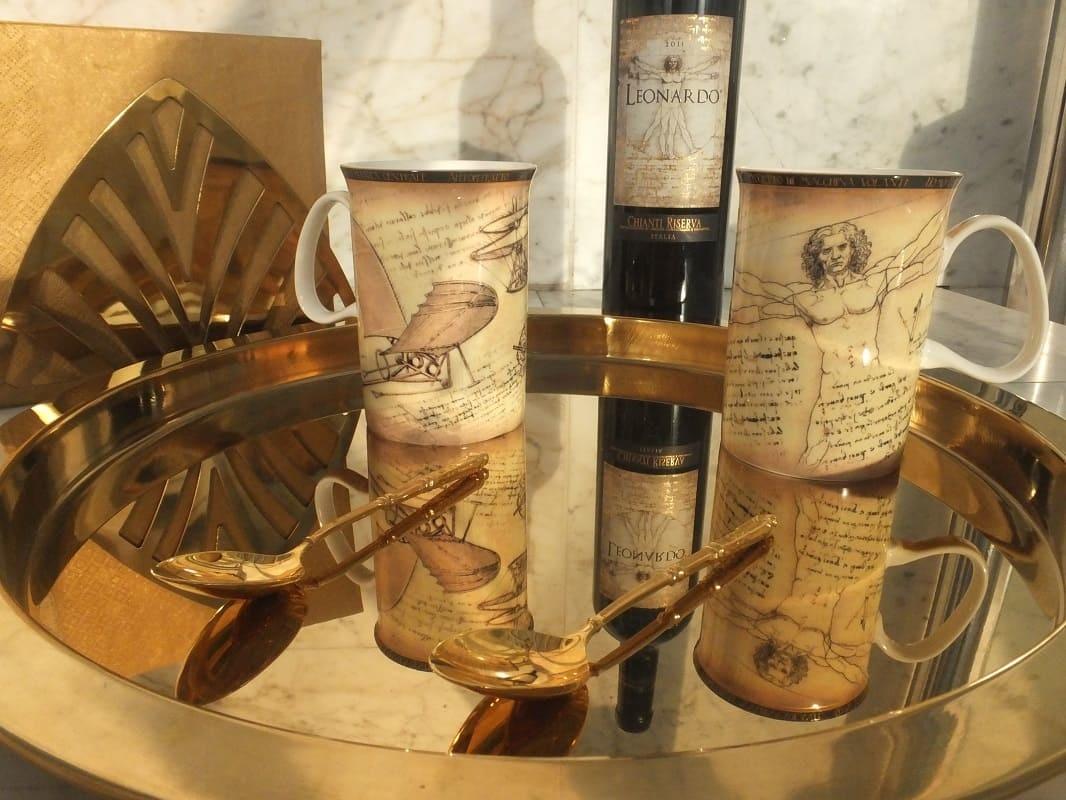 CARMANI - 1990 Leonardo da Vinci - 2 coffee cups in Fine Bone China with 2 motives
