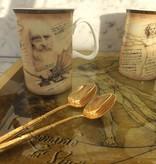 CARMANI - 1990 Leonardo da Vinci - 2 Kaffeetassen in Fine Bone China mit 2 Motiven