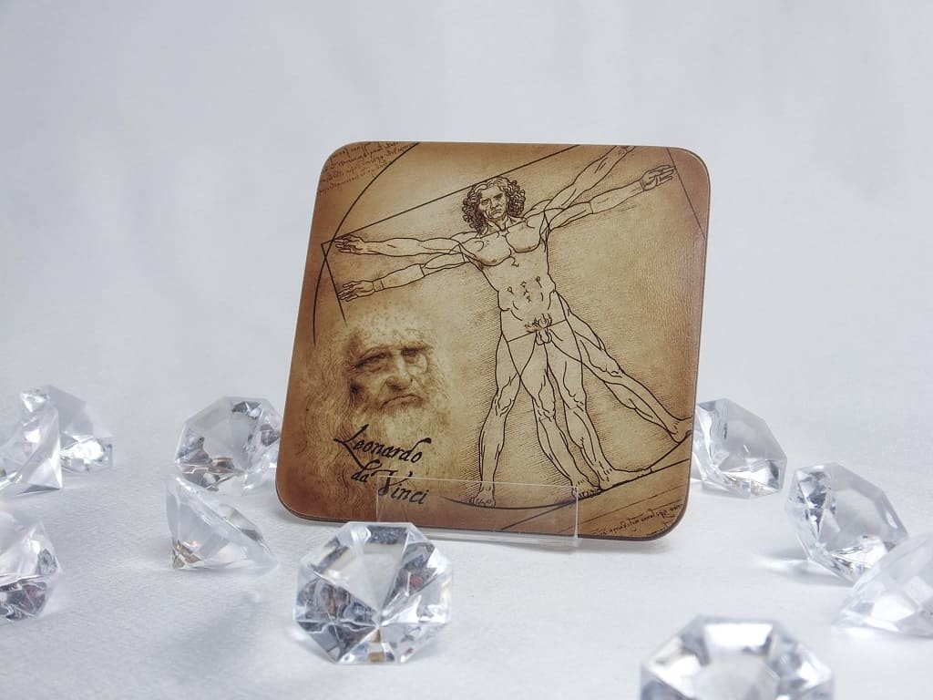 CARMANI - 1990 Leonardo da Vinci - Vitruvian Man - Glass Coaster