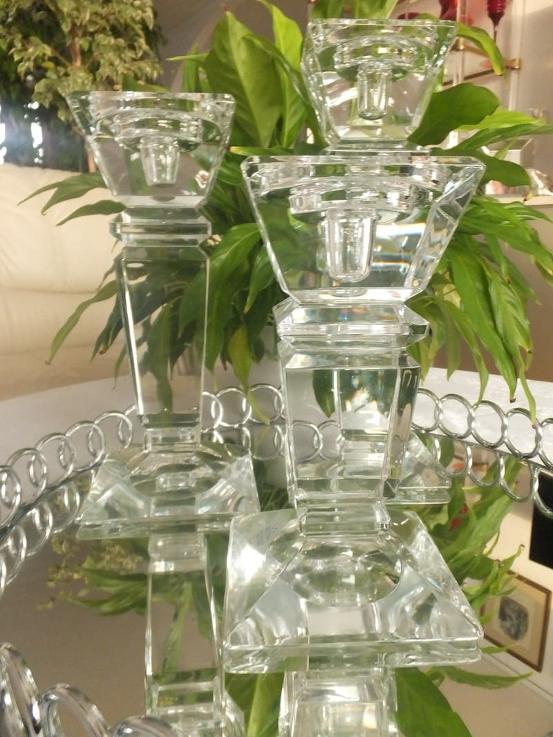 Julia - 1842  Carat - decorative glass candle holder - large