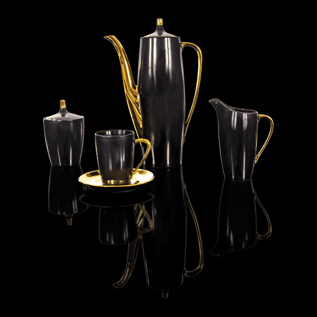 Cmielow - 1790 Glamour  I - Kaffeeservice -nero / gold für 6 Personen