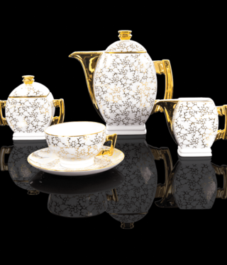 Cmielow - 1790 Glamour IV- Kaffeeservice  6/15 - teilig weiß/marmoriert