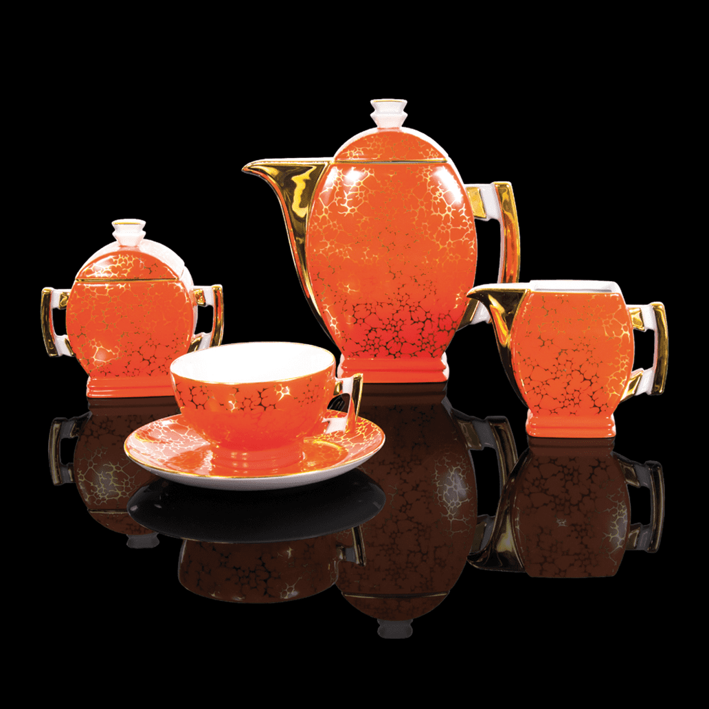 Cmielow - 1790 Glamor V - Coffee tea service with gold rim and marbled surface