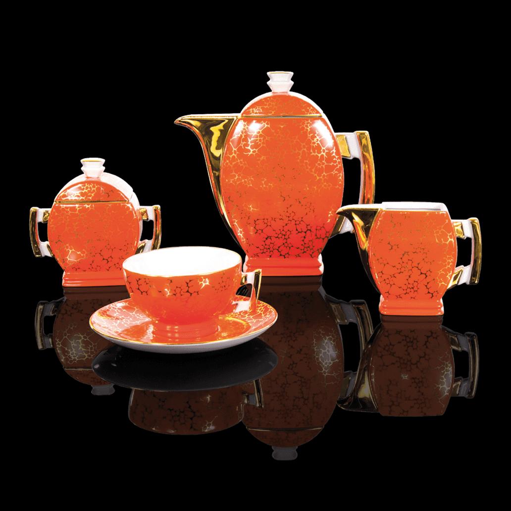 Cmielow - 1790 Glamour V - Kaffee - Teeservice mit Goldrand und marmorierter Oberfläche