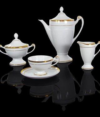 Cmielow - 1790 Glamor VI - tea service 6/15 white / gold rim