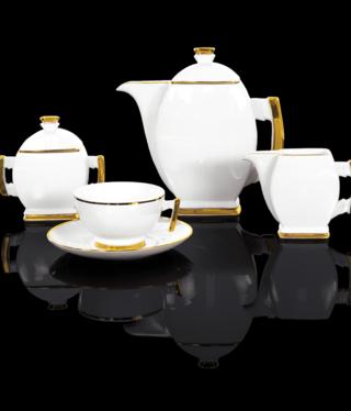 Cmielow - 1790 Glamour III - Kaffeeservice 15 - teilig  weiß / gold