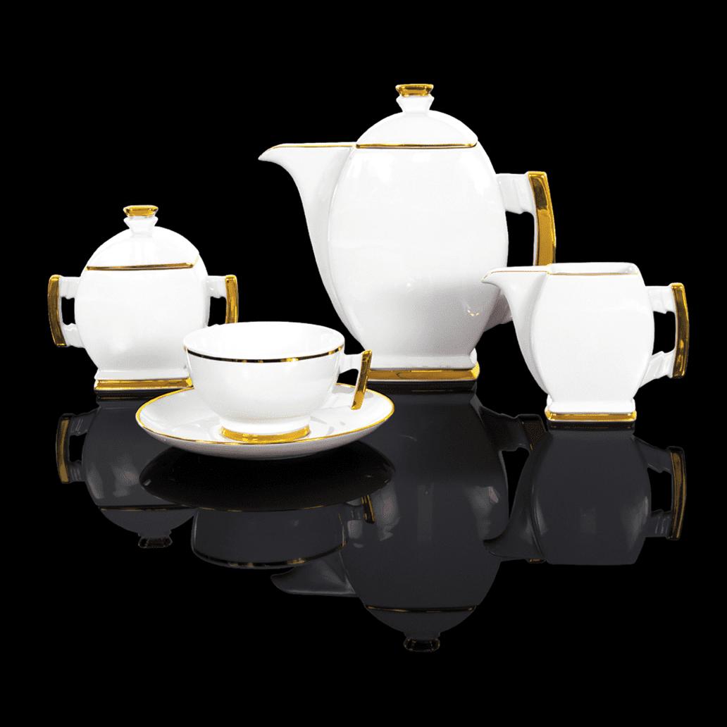 Cmielow - 1790 Glamour III -Kaffeeservice für 6 Personen mit Goldrand.